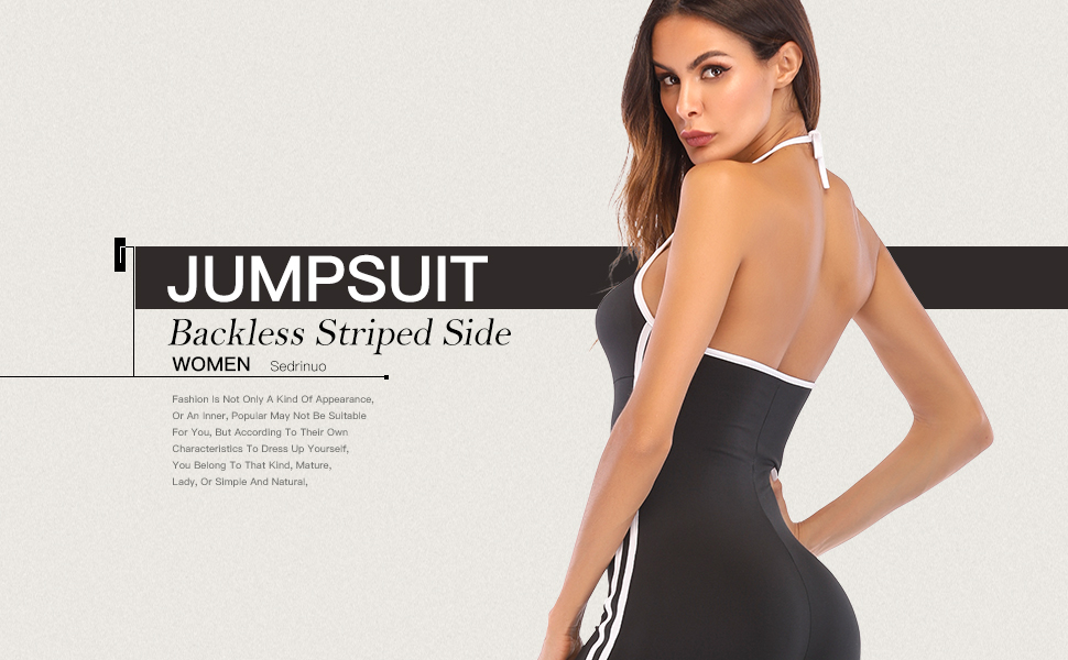 042660d2f3f Amazon.com  Sedrinuo Women Sexy Halter Backless Jumpsuit Striped ...
