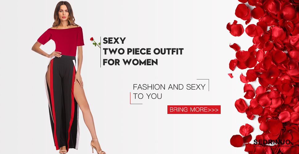 0edf3f64504 Sedrinuo Women 2 Piece Outfits Short Sleeve Boat Neck Romper and High Slit  Wide Pants Jumpsuit Sets