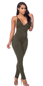 51f4799fbeb Amazon.com  Sedrinuo Women s Deep V Neck Sequin Jumpsuit Sleeveless ...