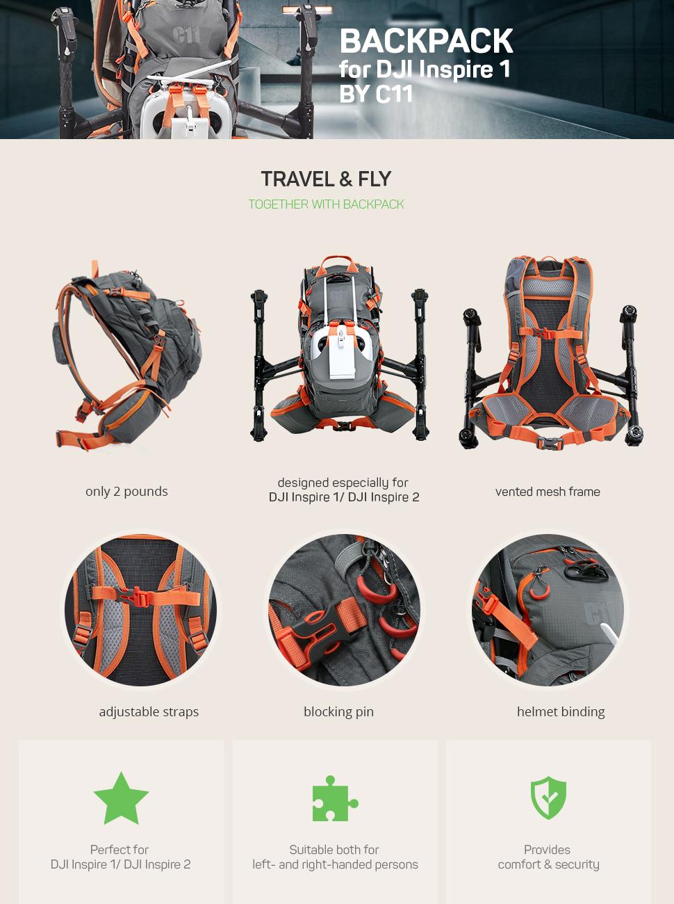 amazon com backpack for dji inspire 1 dji inspire 2 grey by