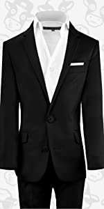 Black n Bianco First Class Slim Fit Suit in Black