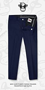 Black n Bianco First Class Slim Fit Trousers in Navy