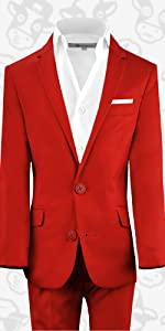 Black n Bianco First Class Slim Fit Suit in Red