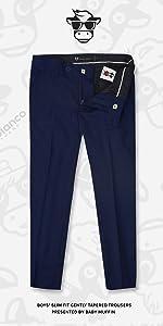 Black n Bianco Flat Front Navy Slim Fit Trousers