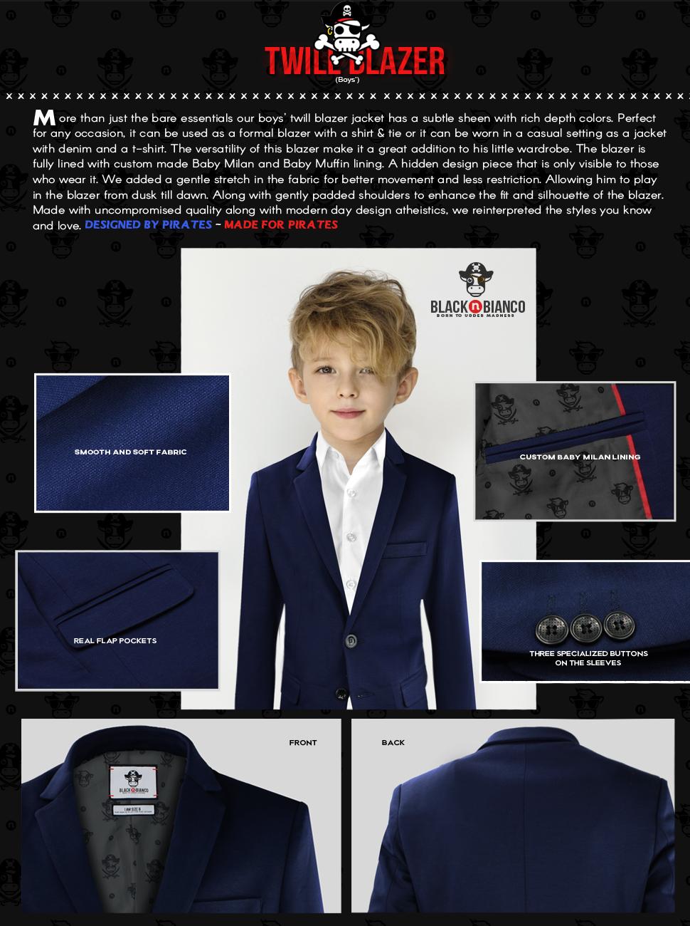Black n Bianco Baby Milan Boys Blazer Boys Suits