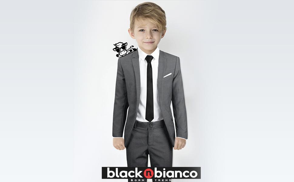 fbdc50593 Amazon.com: Black n Bianco Signature Boys' Slim Fit Suit Complete ...