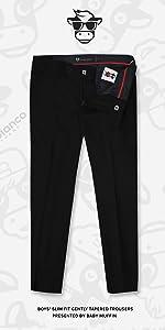 Black n Bianco Boys Flat Front Black Dress Pants Trousers