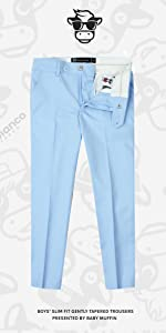 Black n Bianco First Class Slim Fit Trousers in Light Blue