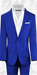Black n Bianco First Class Slim Fit Suit in Royal Blue
