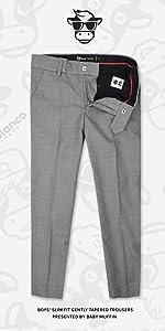 Black n Bianco Rustic Gray Slim Fit Flat Front Trouser Pants