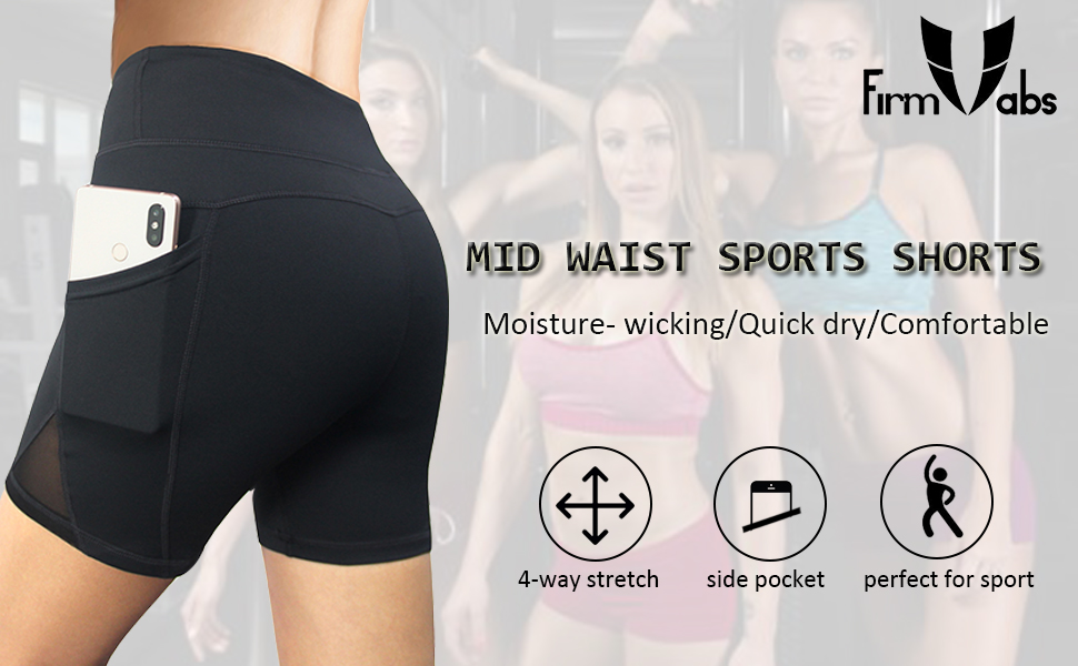 8cf156b370 Firm abs soft sports shorts with sexy mesh design, two side pocket. Moisture  wicking with 4-way stretch material that promotes both compression and  support.