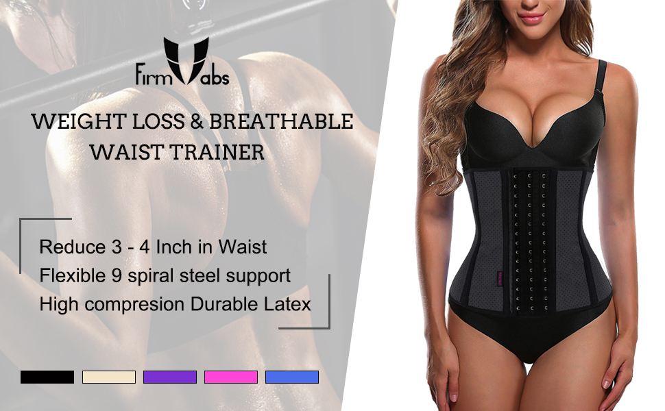 ed34d755ec FIRM ABS Breathable Latex Waist Trainer Corset for Weight Loss ...