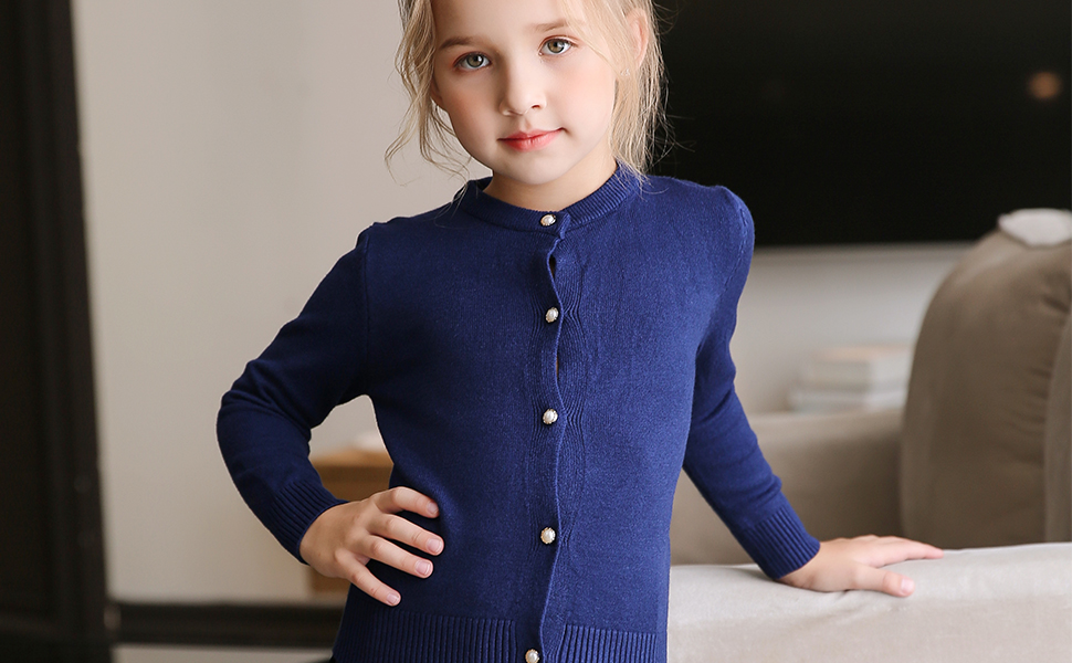 6c779894b232 Amazon.com  SMILING PINKER Girls Cardigan Sweater School Uniforms ...