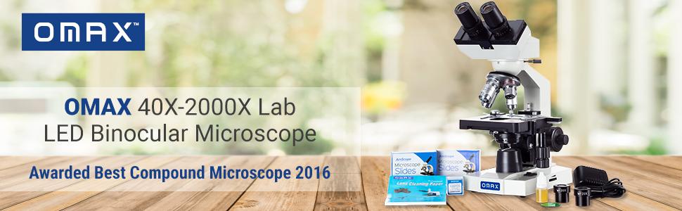 Awarded Best Compound Microscope 2016 - OMAX 40X-2000X Lab LED Binocular Microscope