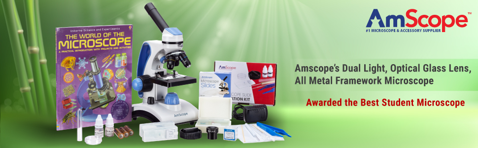 A Great Affordable High Power Student Microscope with Coarse & Fine Focusing and Top - Bottom Lights