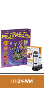 IQCREW Kids Handheld Pocket Microscope with 20X-40X Magnification + LED + Microscope Book