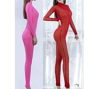 6bda4ab4be94 Amazon.com  Zukzi Womens See Through Lingerie Jumpsuit Long Sleeve ...