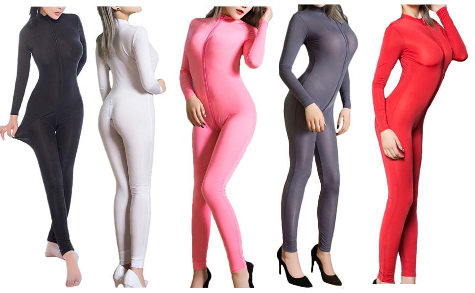 1c26eabcc013 Amazon.com  Zukzi Womens Zipper Front Long Sleeve Full Bodysuit ...