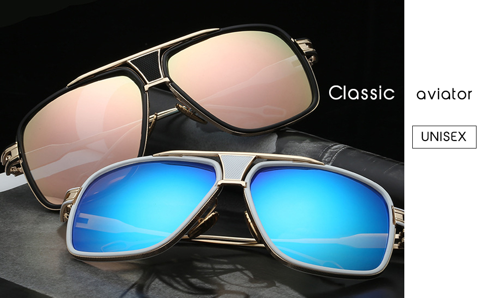 Amazon.com: Retro Aviator anteojos de sol Marco de metal de ...