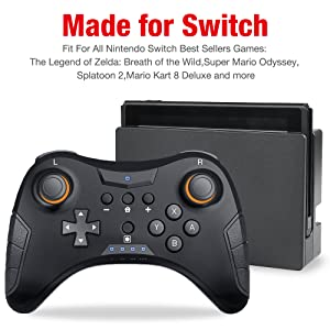 Video Games Black Wireless Bluetooth Gamepad Game Joystick Controller For Nintend Switch With Somatosensory Vibration Screenshot Axis Factory Direct Selling Price Consumer Electronics