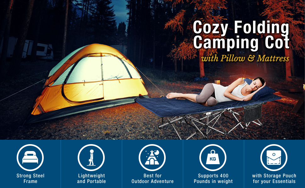 f56445e56f2c ELTOW Cozy Folding Camping Cot - Heavy-Duty Portable Collapsible Sleeping  Bed with Pillow and Mattress - Superior Camping Gear with Strong Steel  Frame ...