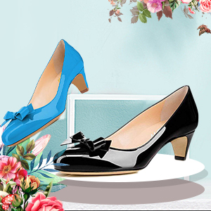 2b02e2d73e4 YDN Women Closed Round Toe Pumps Low Heels Shoes with Bowknot for Work  Office Ladies