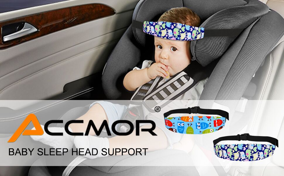 TOYANDONA 2pcs Head Support Band Elastic Cotton Breathable Car Seat Strap Car Head Band Car Sleep Positioner for Nap Sleep Blue