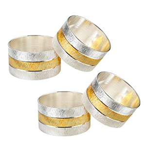 Amazon Com Accmor Napkin Rings Metal Gold Round Napkin Rings Buckles For Table Decorations Wedding Dinner Party Set Of 4 Home Kitchen
