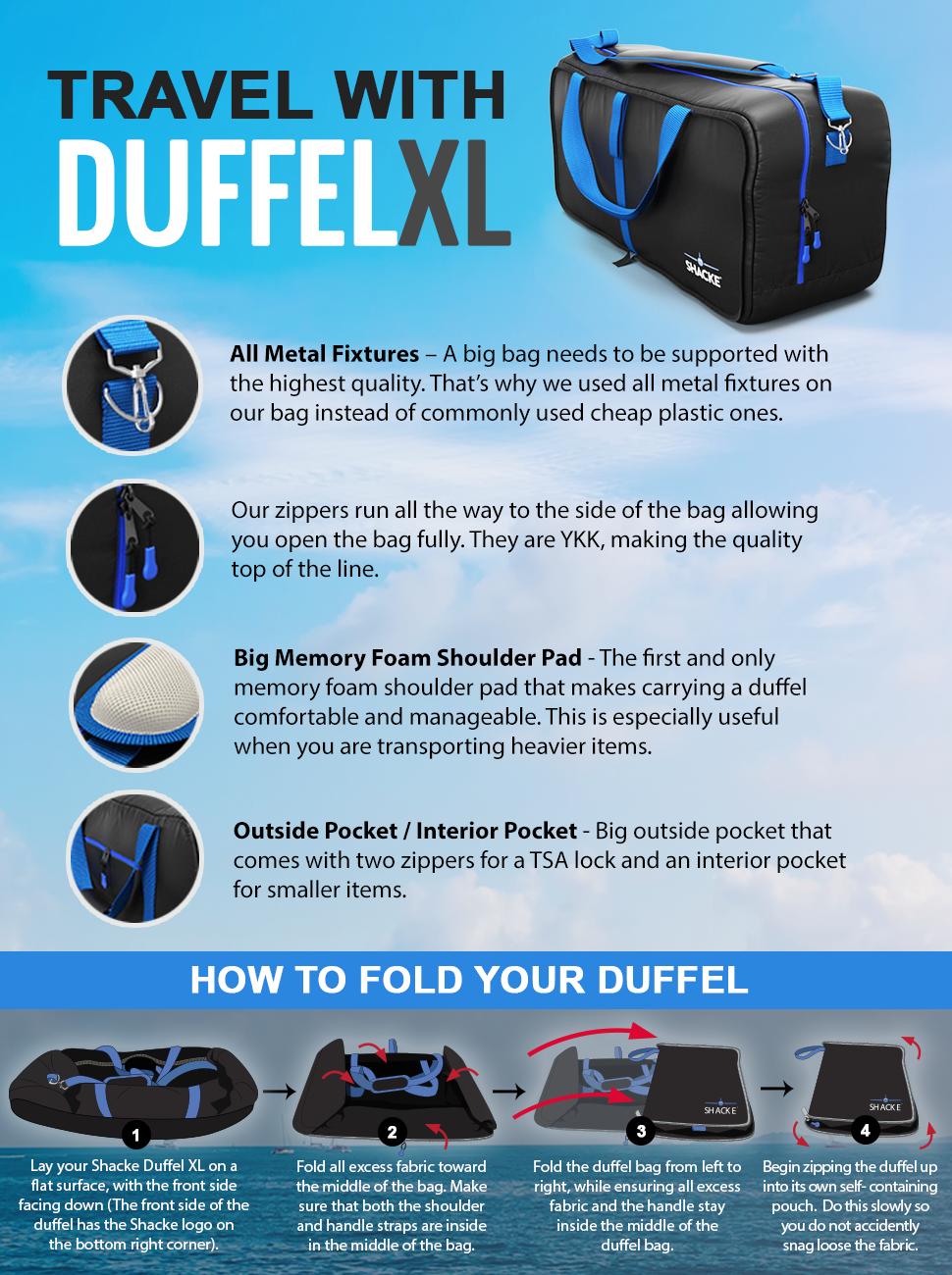 08b8f761a Amazon.com | Shacke Duffel XL - Large Travel Duffel Bag - Foldable w ...