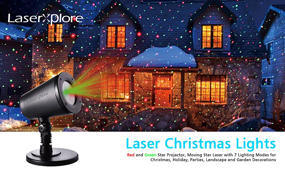 laserxplore laser christmas lights red and green star projector for christmas holiday parties landscape and garden decorations
