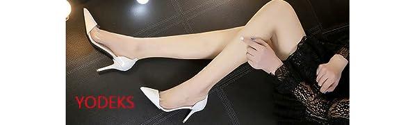 womens cap toe pointed toe pumps 85mm high heel clear stiletto dress pumps