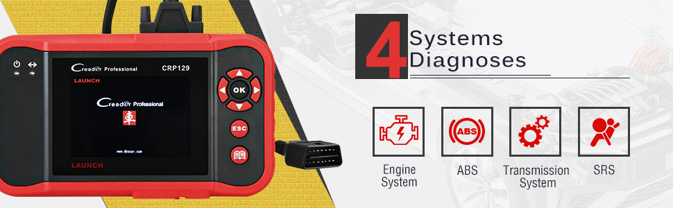 Launch CRP129 offers diagnosis on 4 systems such as Engine, ABS, SRS and Transmission.