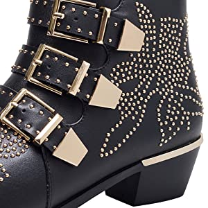 012347c503fdd Leather Ankle Boots Women Rivet Booties Studded Shoes Metal Buckle Shoes  Low Heels