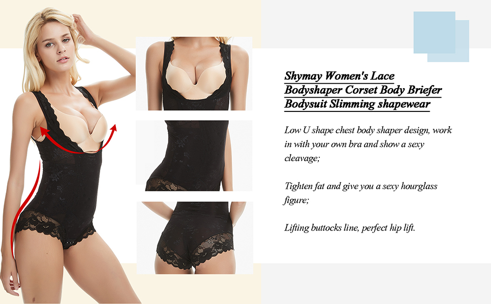 b81854b6ae687 Shymay Women s Lace Bodyshaper Corset Body Briefer Bodysuit Slimming ...