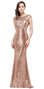 MisShow Women Long Rose Gold Bridesmaid Dress Sparkly Sequins Prom Evening Gowns