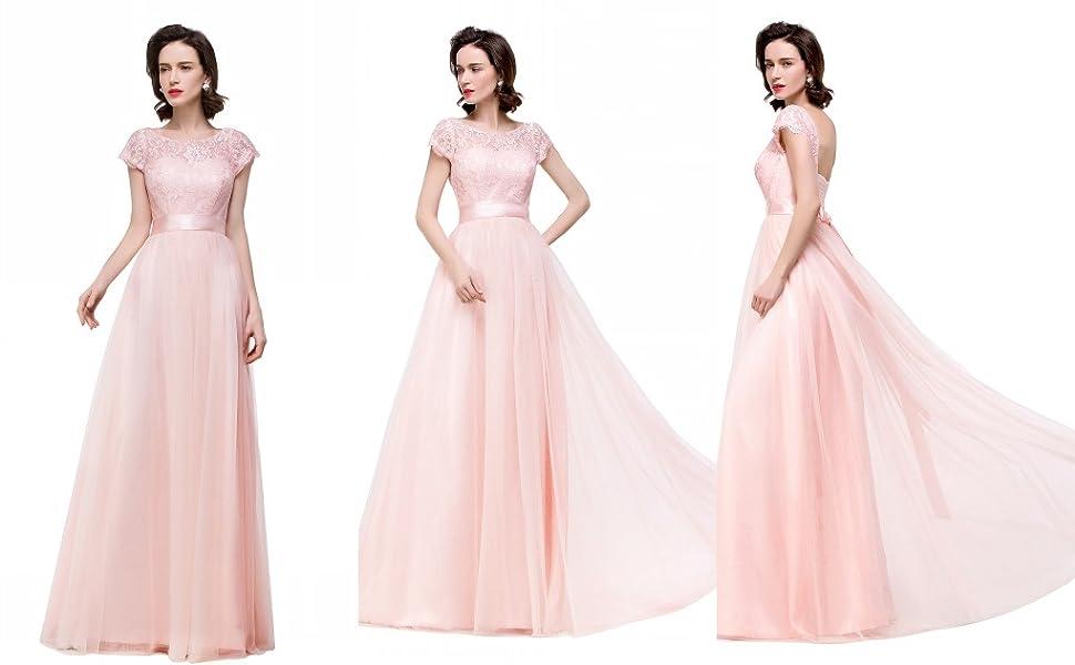 Misshow women s lace applique prom long dress cap sleeve formal