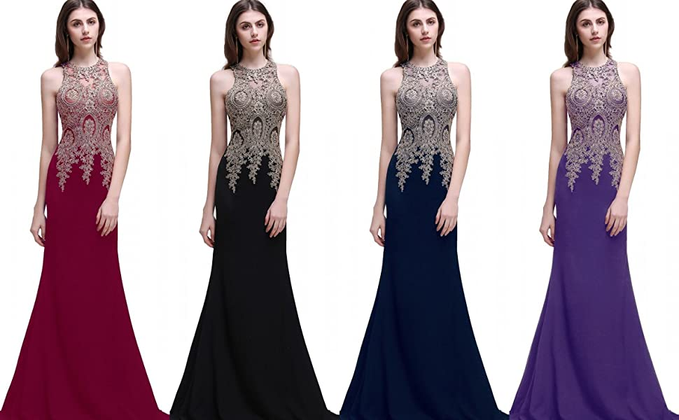 a557fa8ffe1f Available Color to Choose-- Women's Gold Lace Appliques Halter Mermaid Long Prom  Wedding Dress