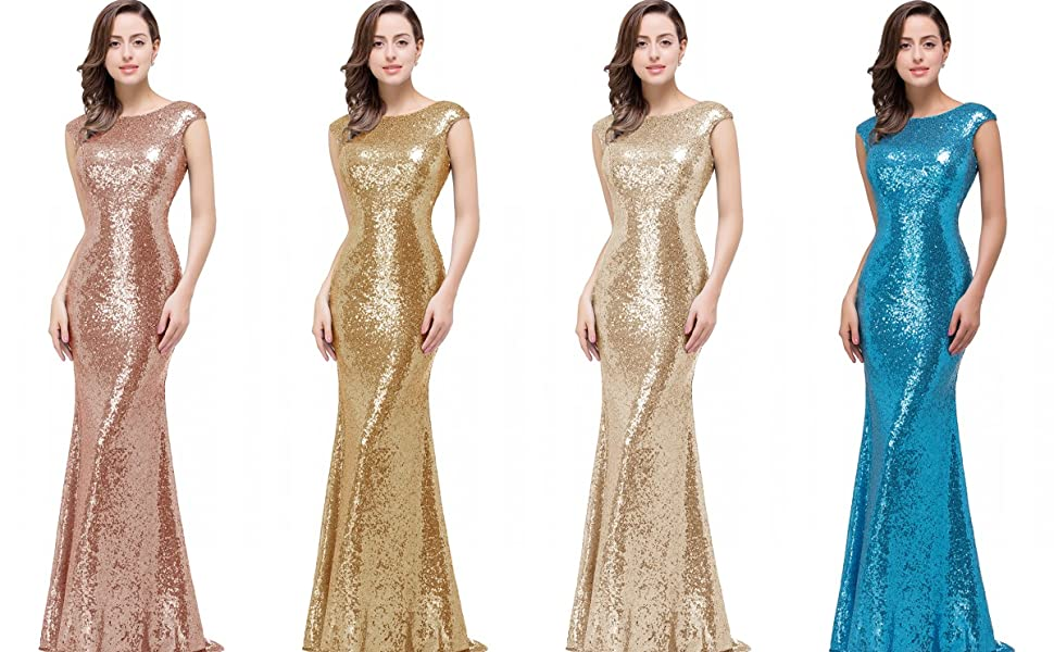 MisShow Women Long Rose Gold Bridesmaid Dress