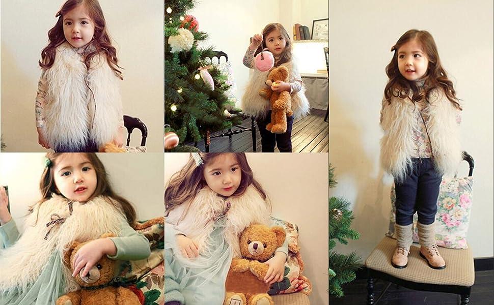 Little Girls' Faux Fur Wool Vest Coat Jacket Outerwear for 1-10 Years Old