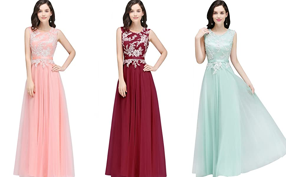 Misshow women s lace appliques beaded sleeveless long evening prom