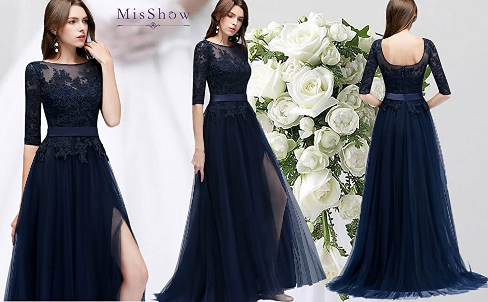Amazon.com: misshow applique tulle 3 4 sleeves long prom dresses