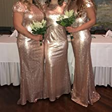 rose gold wedding party dress