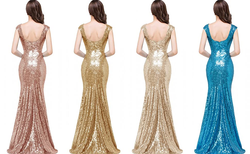41b1b34e58 MisShow Women Long Rose Gold Bridesmaid Dress Sparkly Sequins Prom ...
