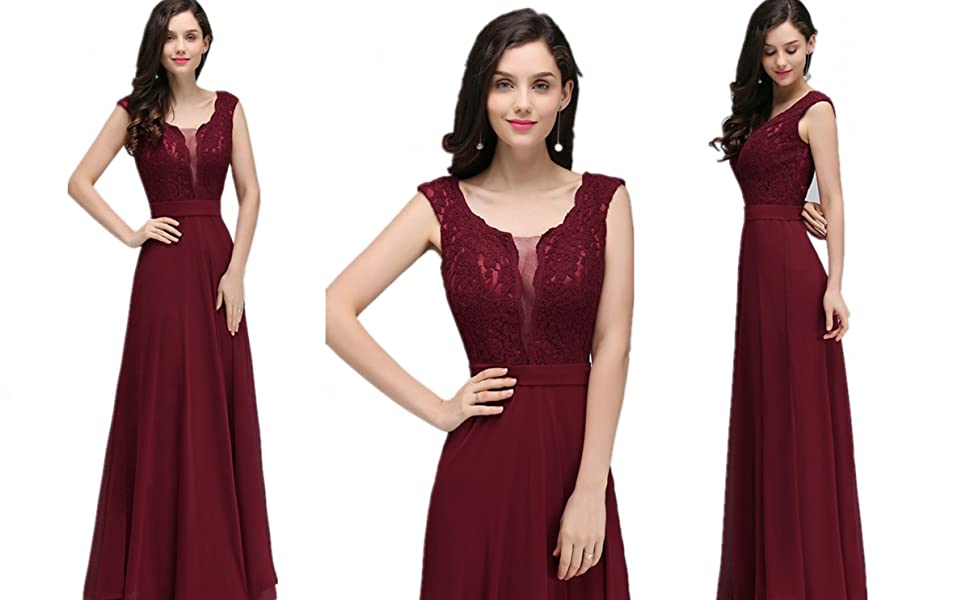 Evening Prom Long Bridesmaid A Line Party Dresses Burgandy wedding dresses for women