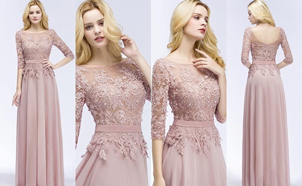 Misshow elegant women lace applique tulle sleeves long prom