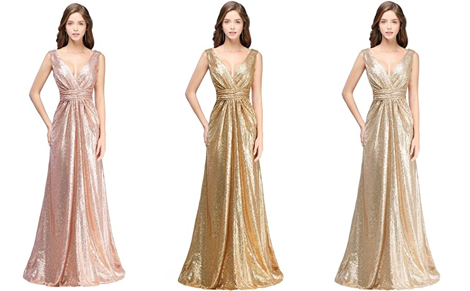 4fe033ae698 Real Model Show-- MisShow Women Sparkly Sequins Bridesmaid Dress Long  V-Neck Prom Evening Gown. women s rose gold ...