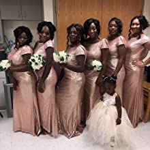 Misshow Women Sequins Prom Bridesmaid Dress Glitter Rose Gold Long Evening Gowns Formal At Amazon Women S Clothing Store