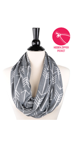 Infinity scarf with zipper pocket summer, Infinity scarfs for women lightweight