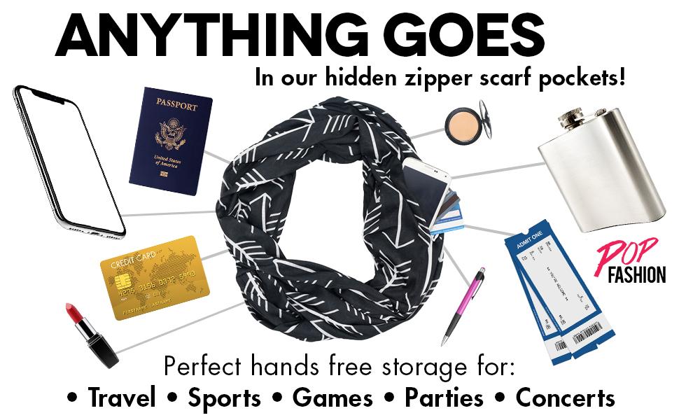 Infinity scarfs for women lightweight Infinity scarf with zipper pocket lightweight Infinity scarfs
