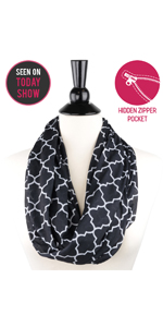 Infinity scarfs for women lightweight, Infinity scarf with zipper pocket lightweight